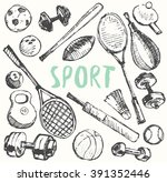 sport equipment doodle set ... | Shutterstock .eps vector #391352446