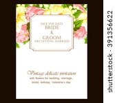 romantic invitation. wedding ... | Shutterstock . vector #391356622