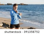 runner woman with heart rate... | Shutterstock . vector #391358752