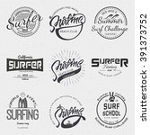 surfing badges  sign handmade...   Shutterstock .eps vector #391373752
