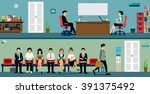 men and women waiting for a job ... | Shutterstock .eps vector #391375492