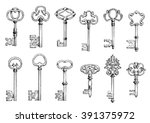 Ancient Keys Vintage Engraving...