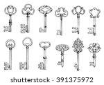 ancient keys vintage engraving... | Shutterstock .eps vector #391375972