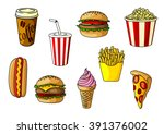 burger and cheeseburger with... | Shutterstock .eps vector #391376002