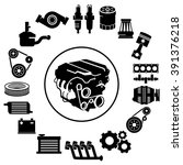 vector car parts set icons | Shutterstock .eps vector #391376218