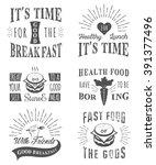 set of vintage food typographic ... | Shutterstock .eps vector #391377496