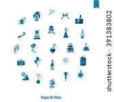 happy birthday icons set.... | Shutterstock .eps vector #391383802