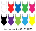 set of swimsuits with straps in ...   Shutterstock .eps vector #391391875