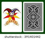 joker playing card on black and ... | Shutterstock .eps vector #391401442