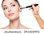 makeup artist applying liquid... | Shutterstock . vector #391403992