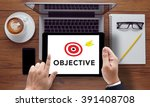 objectives word   business... | Shutterstock . vector #391408708