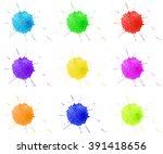 watercolor  drops  splashes...   Shutterstock .eps vector #391418656