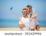 father with children  taking... | Shutterstock . vector #391429996