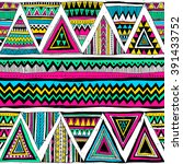 neon color tribal navajo vector ... | Shutterstock .eps vector #391433752