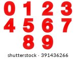number from 0 to 9 red color 3d ... | Shutterstock . vector #391436266