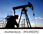 industrial landscape oil pumps... | Shutterstock . vector #391440292