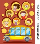 children and school bus... | Shutterstock .eps vector #391458148