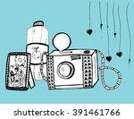 retro camera. the camera with... | Shutterstock .eps vector #391461766