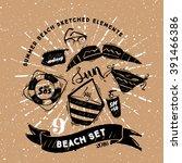 vector summer set    beach set... | Shutterstock .eps vector #391466386