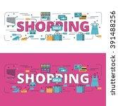 shopping lettering flat line...   Shutterstock .eps vector #391488256