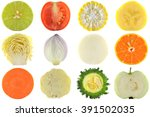 halves of crop  fruits and... | Shutterstock . vector #391502035