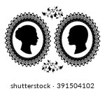 profiles of man and woman in... | Shutterstock .eps vector #391504102