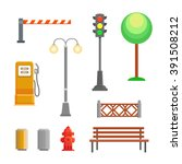 vector street element icons set.... | Shutterstock .eps vector #391508212