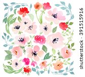 watercolor floral composition.... | Shutterstock . vector #391515916