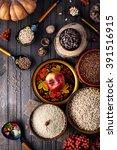 food ingredients in russian... | Shutterstock . vector #391516915