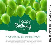 vector happy birthday card with ... | Shutterstock .eps vector #391539496
