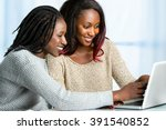 close up portrait of two... | Shutterstock . vector #391540852