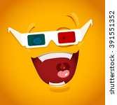 amazed emoticon with 3d glasses   Shutterstock .eps vector #391551352