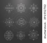 sacred geometry signs. set of... | Shutterstock .eps vector #391552702