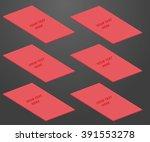 red visit card moke up on dark... | Shutterstock .eps vector #391553278