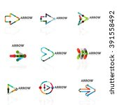 set of linear arrow abstract... | Shutterstock .eps vector #391558492