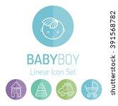 Colorful Baby Icon Set  Smilin...