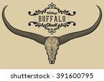 Buffalo Skull Engraving