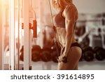 classic bodybuilding. muscular... | Shutterstock . vector #391614895