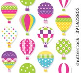 hot air balloons pattern... | Shutterstock . vector #391623802