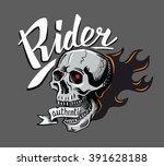 vector black skull icon on gray ... | Shutterstock .eps vector #391628188