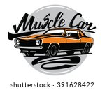 vector orange muscle car icon... | Shutterstock .eps vector #391628422
