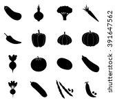 set of black vegetable icons ... | Shutterstock .eps vector #391647562