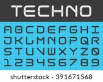 square futuristic alphabet and... | Shutterstock .eps vector #391671568