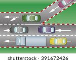 cars join the motorway through... | Shutterstock .eps vector #391672426