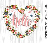 greeting card with  hello... | Shutterstock .eps vector #391674088
