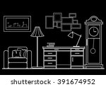 linear architectural sketch... | Shutterstock .eps vector #391674952