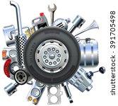 vector truck spares concept | Shutterstock .eps vector #391705498