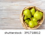 background with green pears in...   Shutterstock . vector #391718812