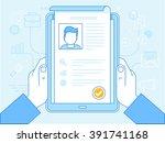 vector flat linear illustration ... | Shutterstock .eps vector #391741168