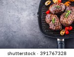 grill beef juicy sirloin steaks ... | Shutterstock . vector #391767328